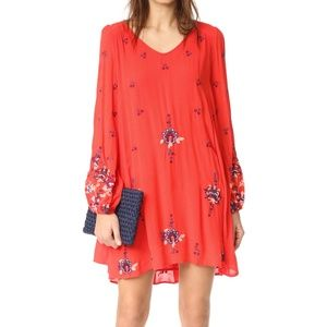 Free People Oxford Embroidered Mini Dress XS Red